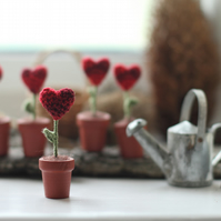 Miniature Crochet heart in the pot, Valentine Decoration, sympathy gift