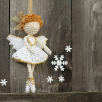 Crochet Christmas Angel Fairy Elf miniature ballerina doll ornament
