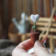 White winter heart, Christmas Decoration, miniature gift, tiny heart in a pot