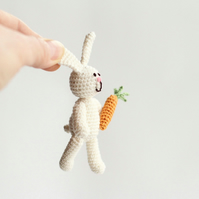 Crochet Miniature bunny, white milk rabbit with carrot, crochet art doll, toy