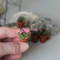 Crochet miniature flower african violet Fairy garden rosy pink potted plant