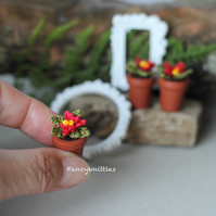 Crochet poinsettia miniature Christmas potted plant dollhouse decor gift for her
