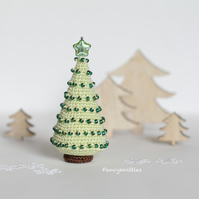 Crochet Christmas tree ornament, Christmas decor, miniature Christmas tree