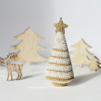 White Gold Stripes Christmas Tree, Miniature Crochet Christmas Tree Ornament