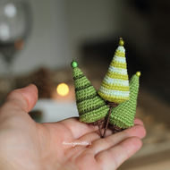 Christmas Tree Table Decor Miniature Crochet Christmas Set on Wire
