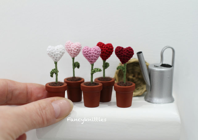 Miniature Flowers Hearts in the Pots, Set of Five, Valentines Day Gift