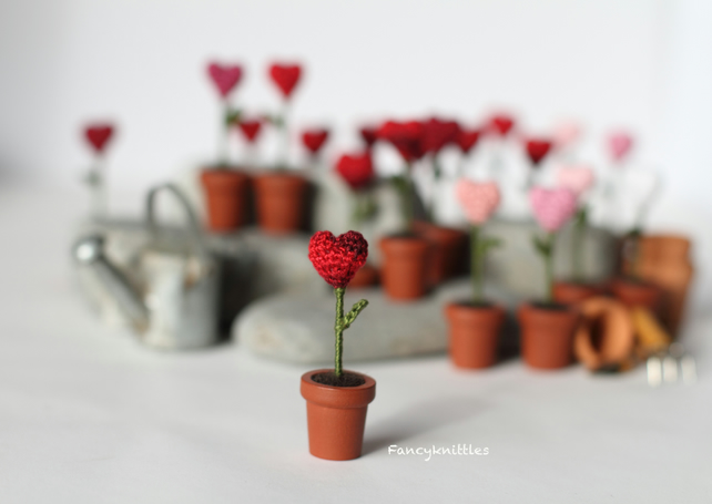 Miniature Crochet heart in the pot, Valentine Decoration, thank you gift