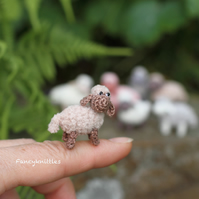 Miniature Sheep Doll, Dollhouse Crochet Animal, Tiny Winy Soft Plush Lamb