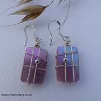 Pink Iridescent Glass Earrings - Wire Wrapped