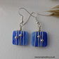 Blue Glass Earrings - Wire Wrapped