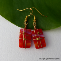 Red Glass Earrings - Wire Wrapped
