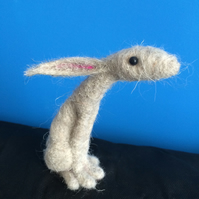 Needle felted moon gazing hare  Art sculpture