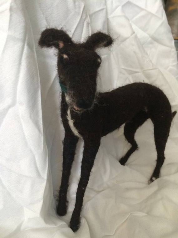 Needle Felted Whippet Dog Sculpture