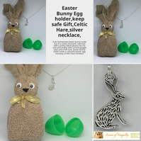 Easter Bunny Egg holder,keep safe Gift,Celtic Hare,silver necklace,
