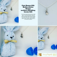 Cute Bunny,Gift Holder,Easter Bunny necklace,Wedding favour Gift