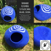 Hand felted cat cave, small dog, pet bed, igloo