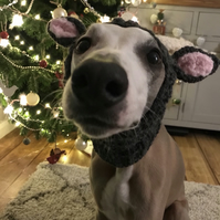 Christmas Doggie Reindeer Snood - dog hat - costume