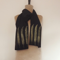 On sale Hand print scarf vegan fashion Bamboo  Feather Black Gold Block Printed