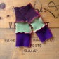 Baby leg warmers wool and cashmere upcycled purple green