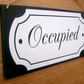 Occupied - Vacant double sided bathroom door sign. Housewarming gift idea.
