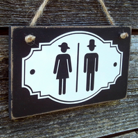 Bathroom door sign with vintage style icons.