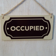 Vacant  - Occupied double sided door sign - oval design.