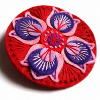 Unique hand embroidered Marrakech textile brooch pin