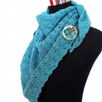 100% cotton hand crochet scarf with co-ordinating textile brooch pin