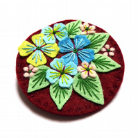 Unique hand embroidered Hydrangea textile brooch pin