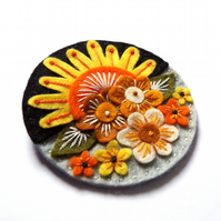 Summer textile brooch with freeform hand embroidery