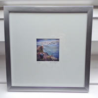 LIMITED EDITION Framed textile picture - 30CM SQUARE - AMBLE, NORTHUMBERLAND