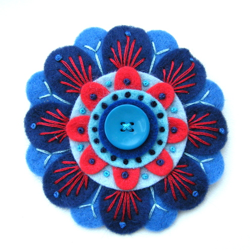 PASSION FLOWER FELT BROOCH WITH FREEFORM EMBROIDERY