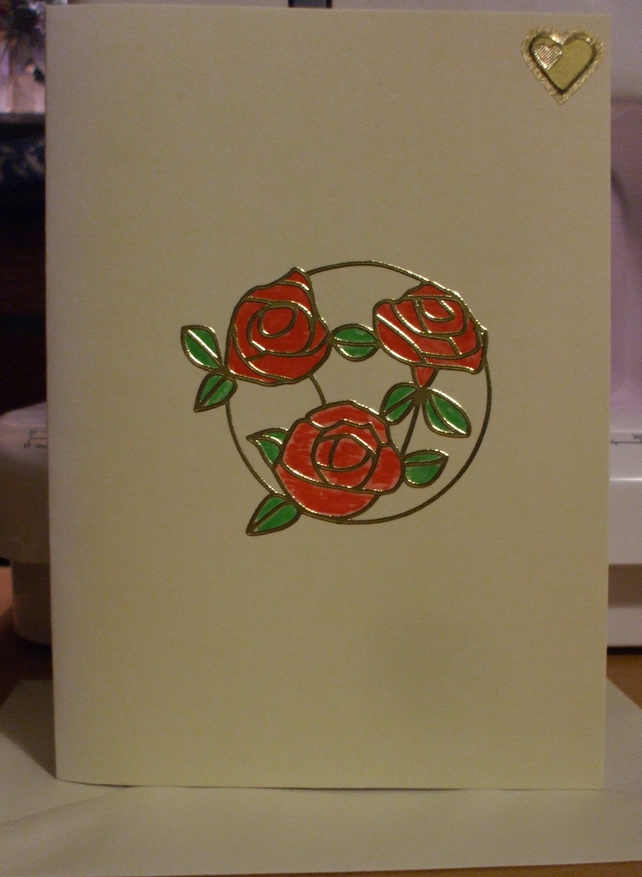 Rose and Heart Anniversary Card