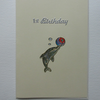 Dolphin First Birthday Card
