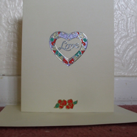 Love Heart and Rose Anniversary Card