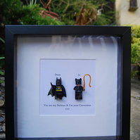 Batman & Catwoman Lego Superhero Box Frame Wall Wedding Engagement Gift