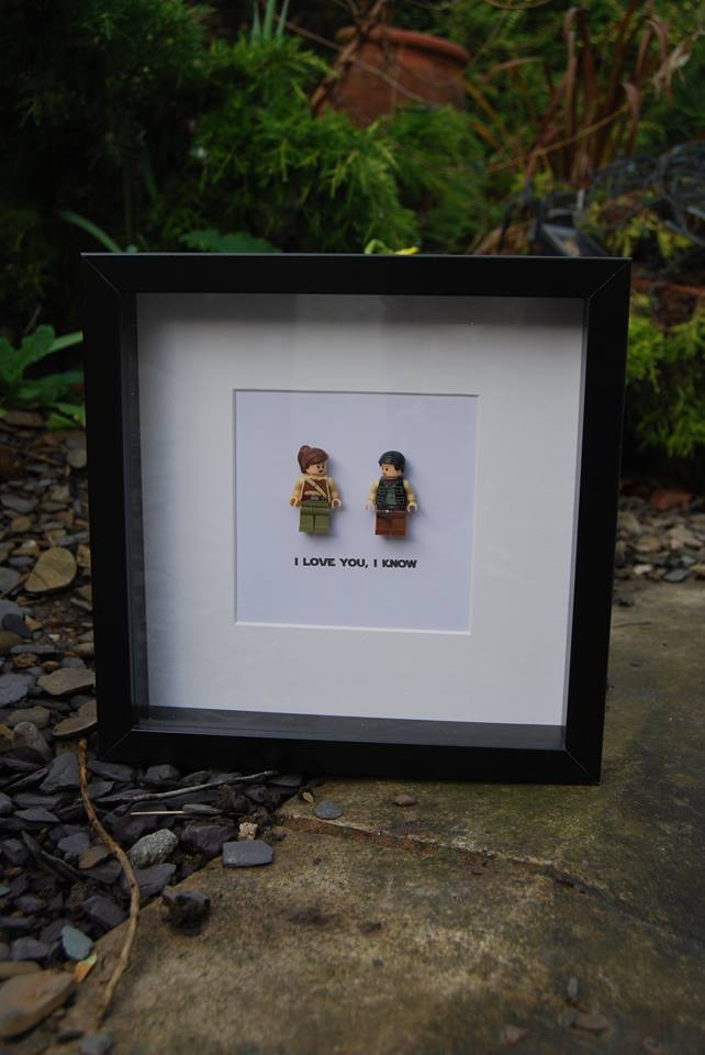 Star Wars Lego Princess Leia & Hans Solo I Love You I Know Box Frame
