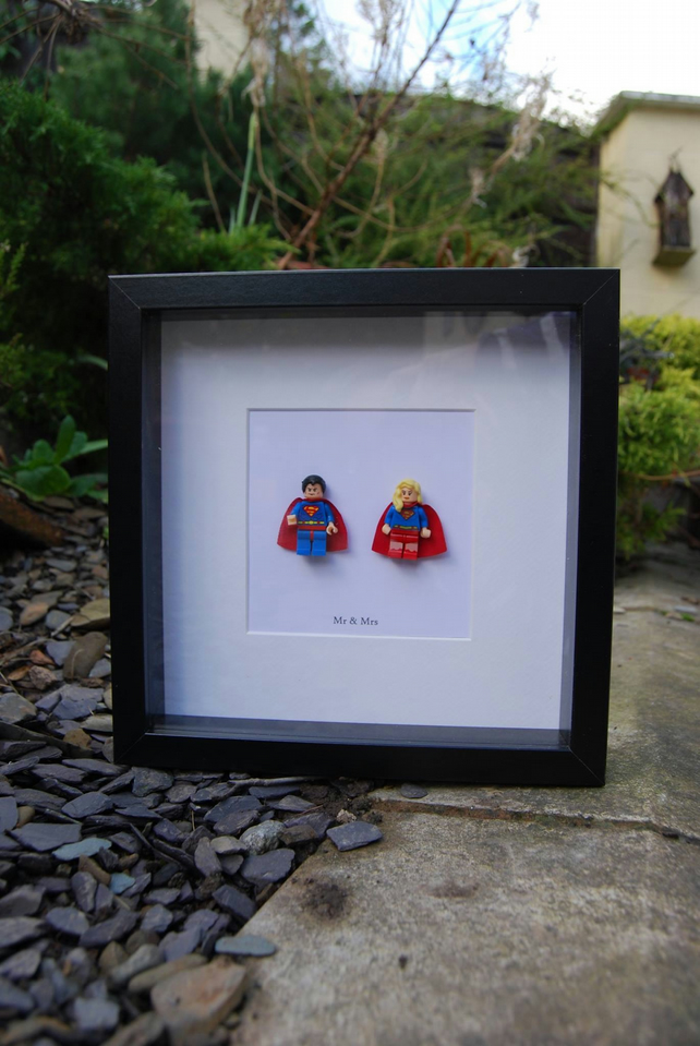 Mr & Mrs Superman & Supergirl Lego Superhero Box Frame Wedding Gift