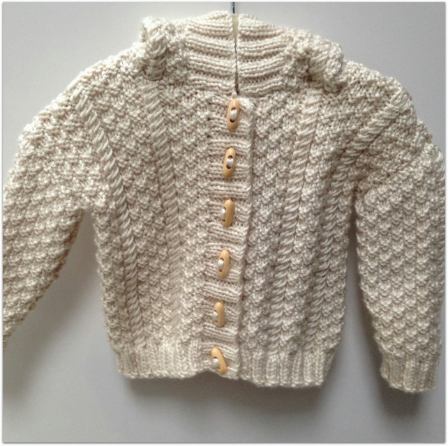Girl's Hooded Aran Jacket 1 - 2 years