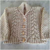 Aran Shawl Neck Cardigan - Girl's 2-3 years