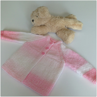 Hand knitted Baby Coat - Girl's 0-3 months in shares of pink