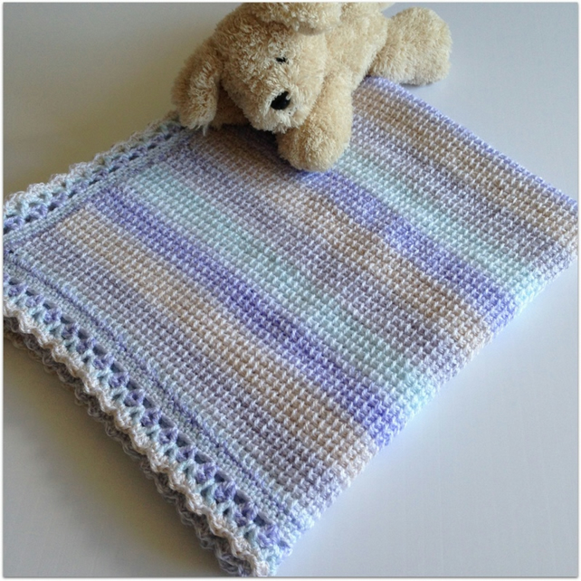 Hand Crocheted Baby Blanket Pastel Shaded Tun Folksy