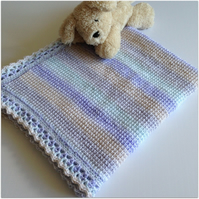 Hand crocheted Baby Blanket - Pastel Shaded Tunisian Crochet