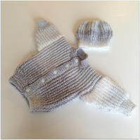 Baby Cardigan and matching Beanie Hat 0 - 3 months