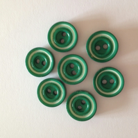 Green Buttons - 2 hole - 14mm
