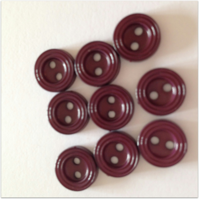 12mm Deep Burgundy Buttons