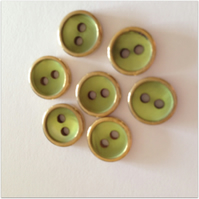 10mm Green and Gold Edged Buttons