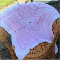 Baby Blanket Pink and White Star