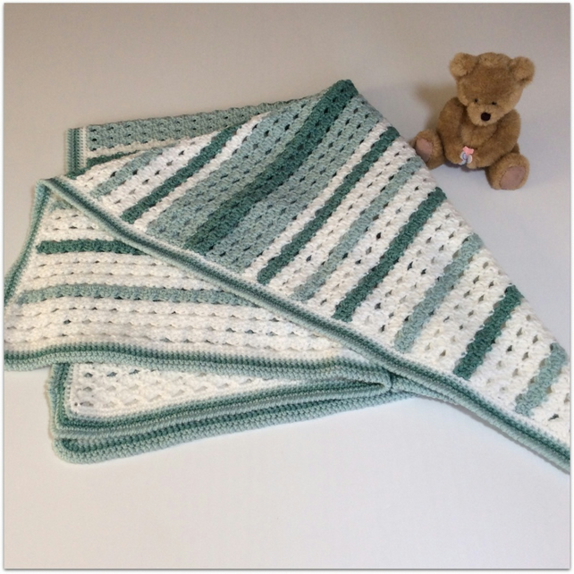 Crochet Baby Blanket in White and shades of green