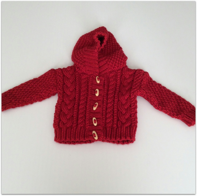 Girl's Hooded Aran Cardigan 6-12 months approx